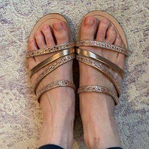 Mariella beaded/rhinestone rose gold sandals